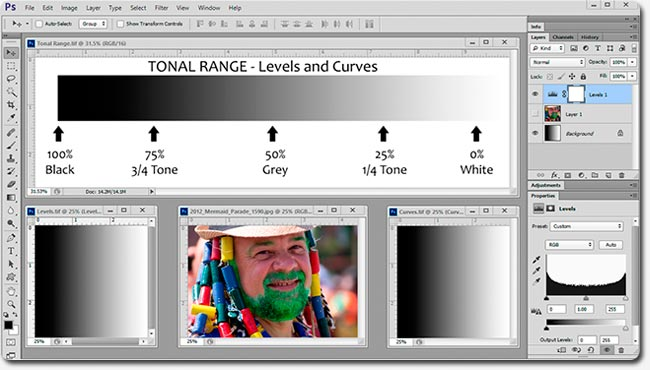 Adobe Photoshop Tutorial - Tonal Range, Levels and Curves